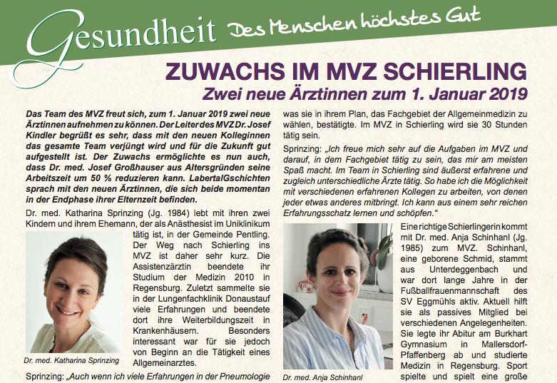 2 neue Ärztinnen im MVZ Schierling